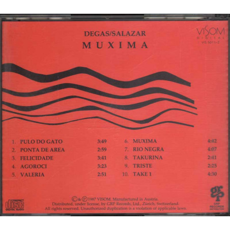 Jorge Degas & Marcelo Salazar CD Muxima - NO BARCODE Nuovo RARO VIS50112