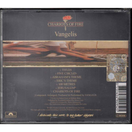 Vangelis CD Chariots Of FireOST Soundtrack Sigillato 0731454909525